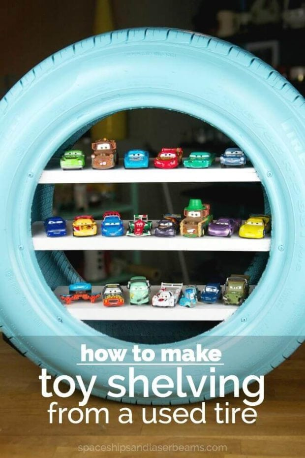 DIY Tire Toy Shelves