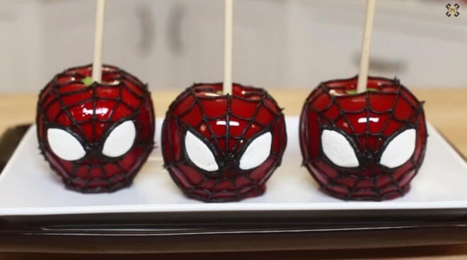 Spiderman Candy Apples Are Traditional Treats With A Fun Superhero Flair