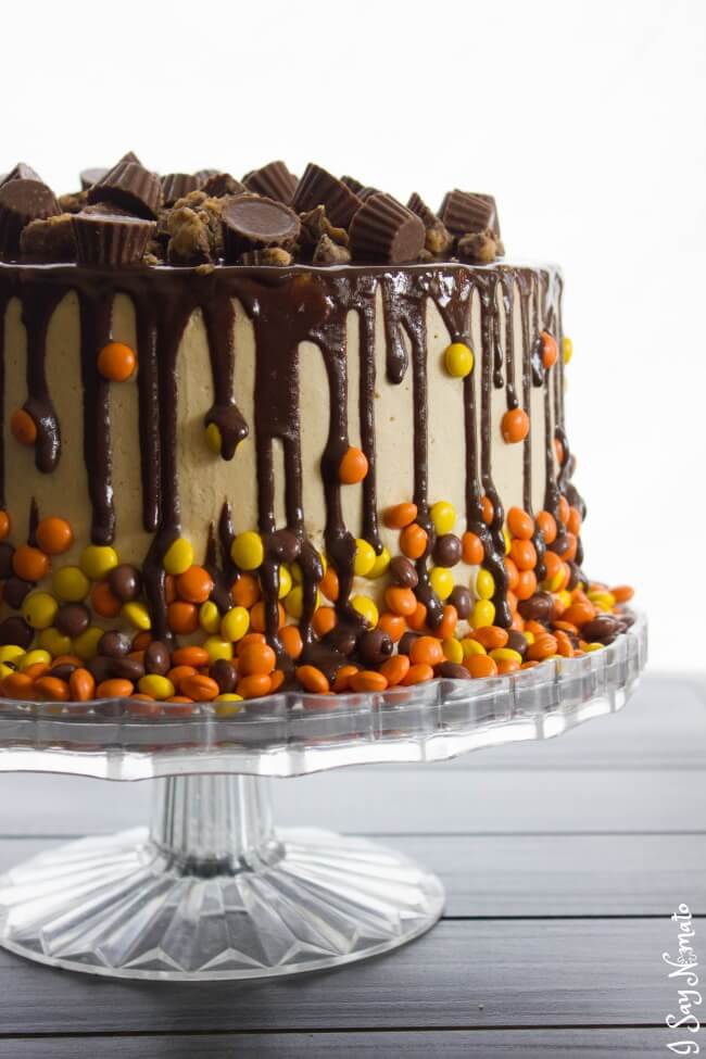 Chocolate and Peanut Butter Drip Cake