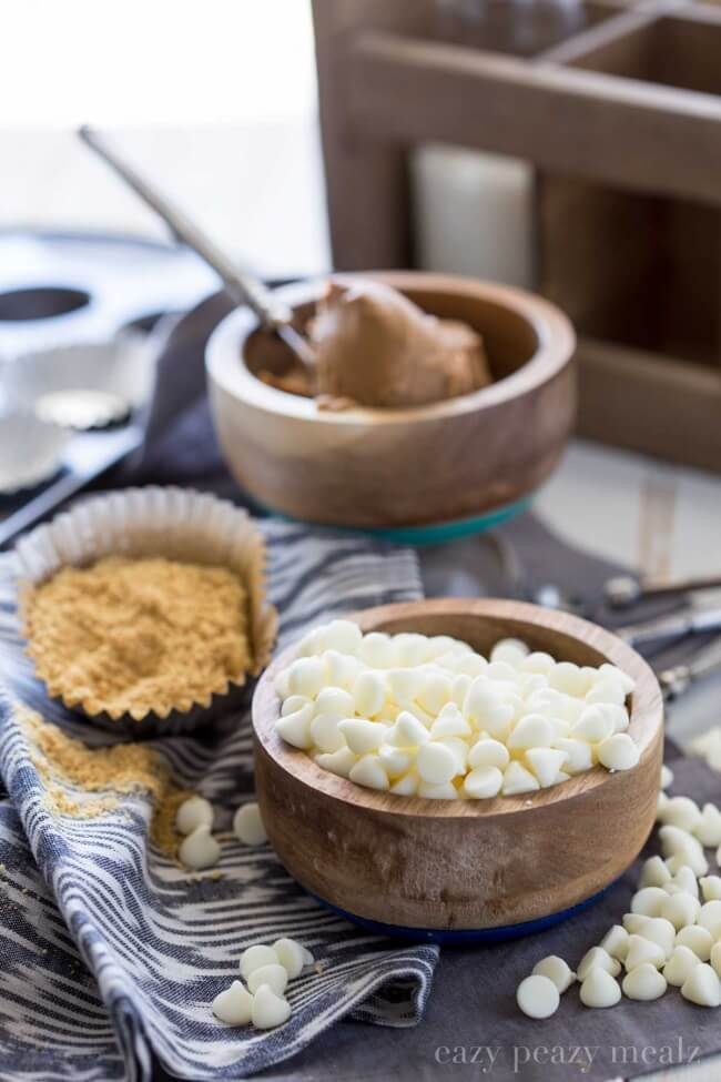 Ingredients for White Chocolate Cookie Butter Cups