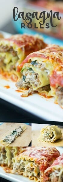Sausage, Spinach & Cream Cheese Lasagna Rolls