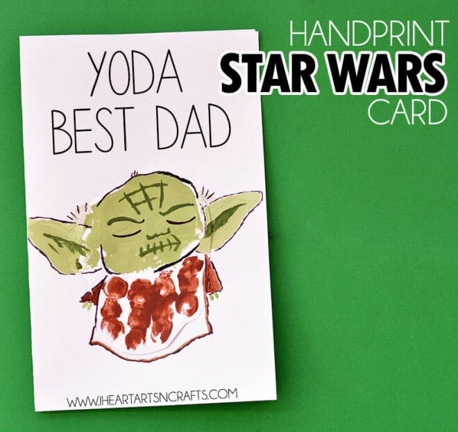 Does Dad love Star Wars? Make this handprint yoda Father's Day card!
