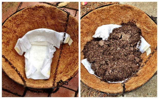 Use Diapers in Bottom of Potting Plants for Moisture Retention