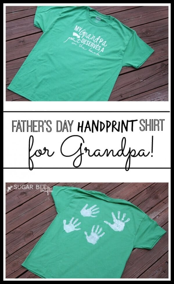 Grandpa also needs love on Father's Day! Show him you care with this handprint shirt.