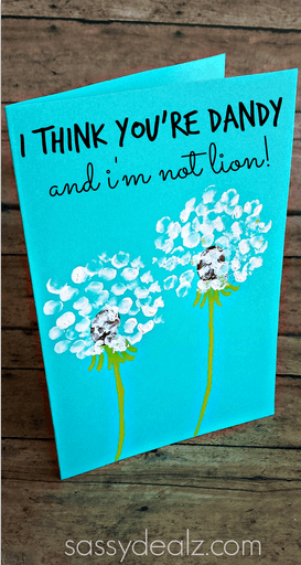 Let your kids use fingerprints to make these cute Dandelion Father's Day cards