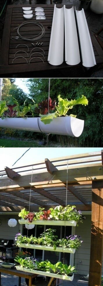 Use gutters to make a hanging garden.