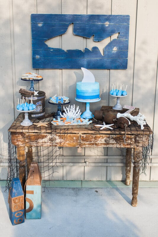 Shark Pool Party Dessert Table