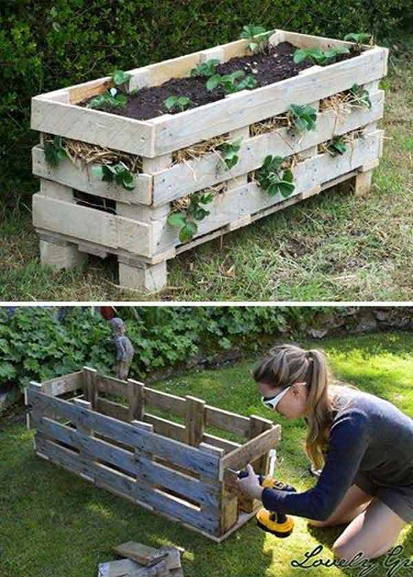 DIY Wooden Pallet Strawberry Planter