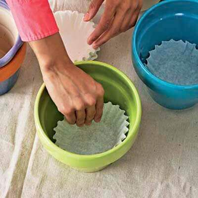Use coffee filter drainage plugs for pots (to keep soil from falling out)