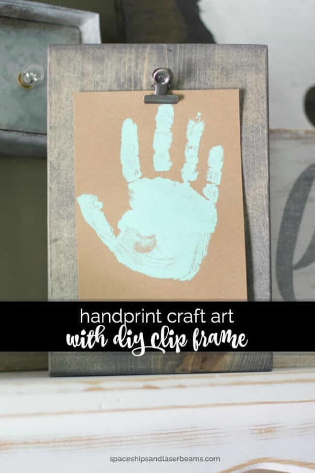 This simple craft art handprint with DIY Clip Frame is something Dad could keep on his desk.