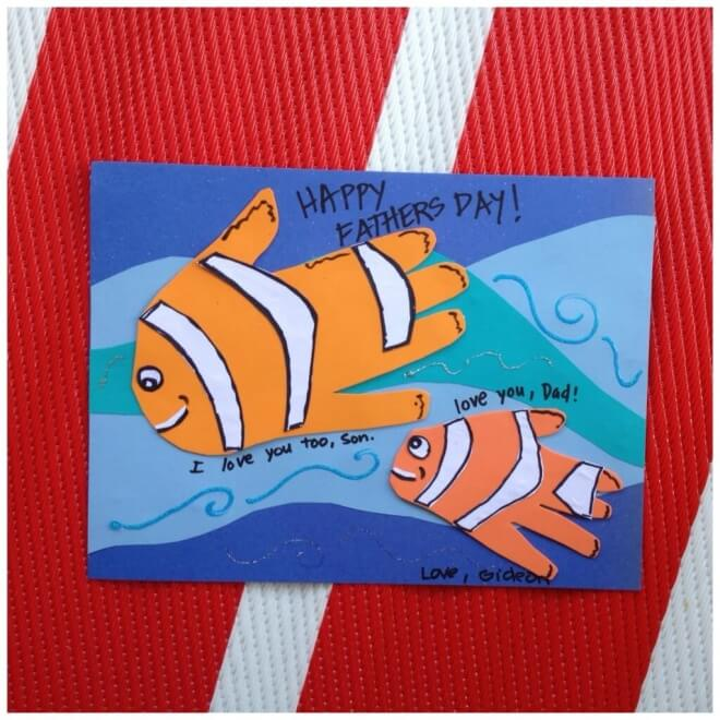 Does your child love their dad like Nemo loves his? Make this fishy father-child Father's Day card.