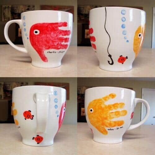 These handprint fish mugs are cute, and dad can use them every day as he drinks his morning coffee and thinks about his kids.