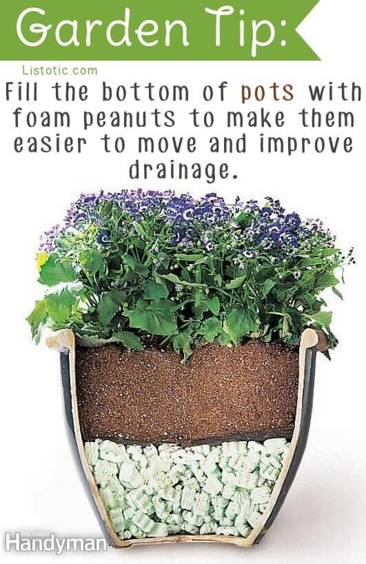 Use packing peanuts to improve drainage and keep pots light.