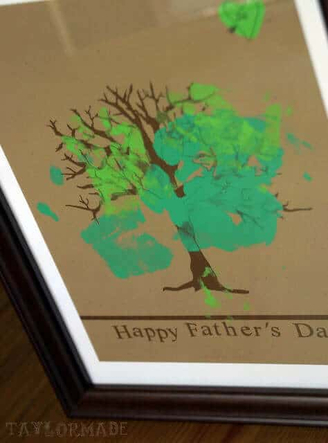 Use your children's handprints to make these fun tree Father's Day presents.