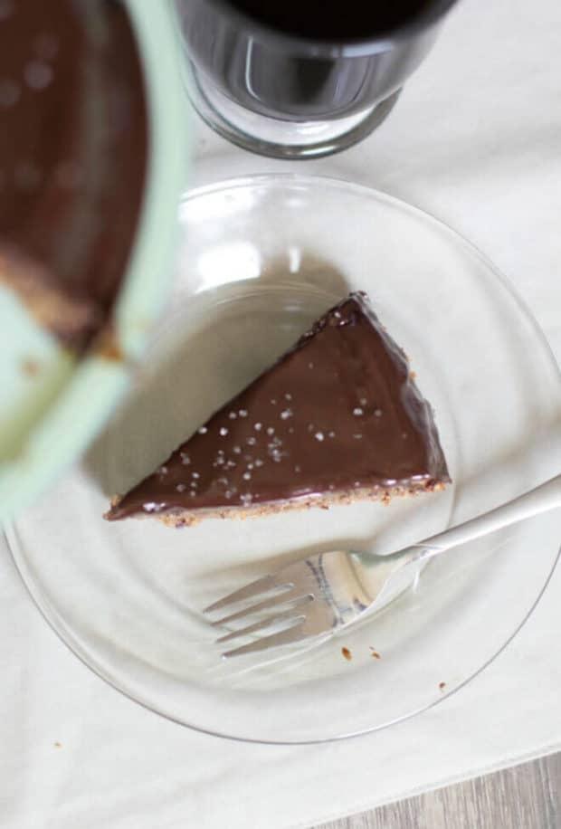 flourless chocolate glazed almond cake spaceships and