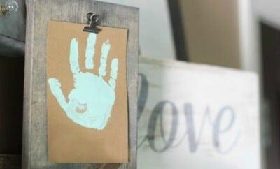 Handprint Craft Art with DIY Clip Frame