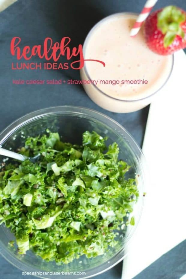 Easy Healthy Lunch Ideas: Kale Ceaser Salad +Strawberry Mango Smoothie