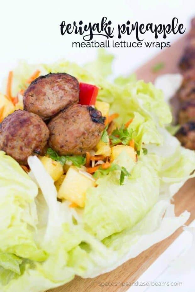 Teriyaki Pineapple Meatball Lettuce Wraps