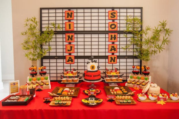 Boy's Ninja Themed Birthday Dessert Table