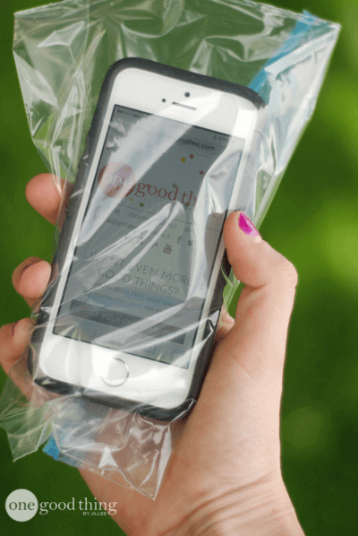 Use a ziplock bag to keep your cellphone dry and sand-free this summer.