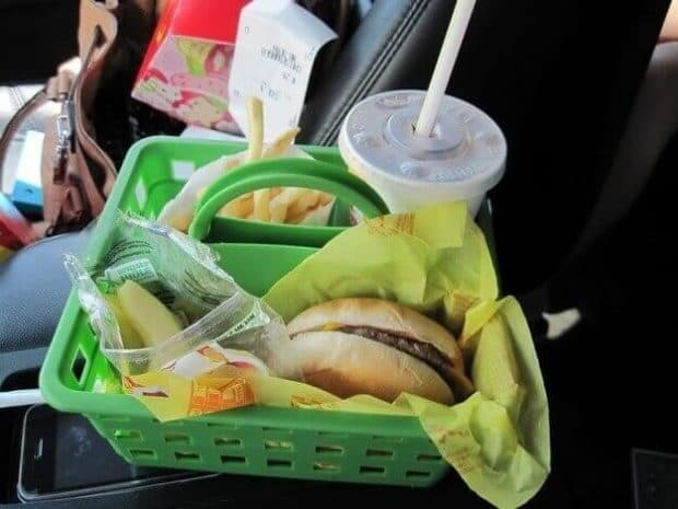 Use a shower caddy as a meal or snack holder for kids. No more messes in the car!