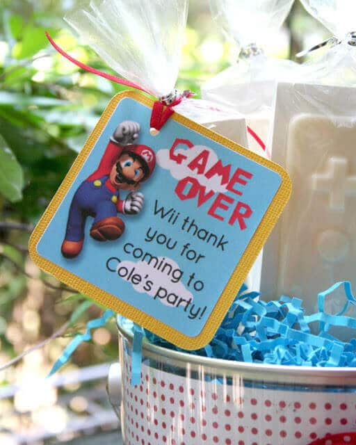 This party favor label is delightful and perfect for Super Mario fans.