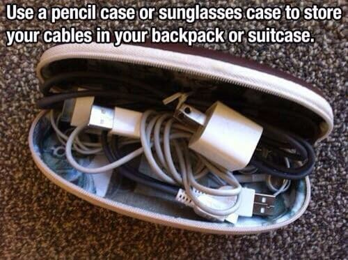 Use a glasses case to store cords, cables and chargers on the road.