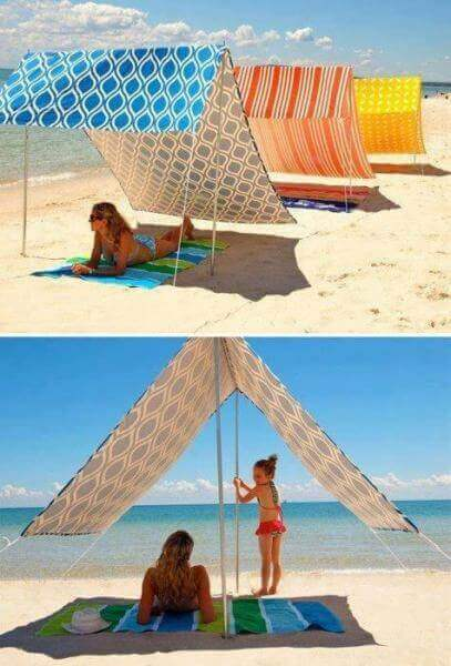 This flexible Homemade Sunshade is the ultimate summer beach hack. It's easy to carry and adjustable!