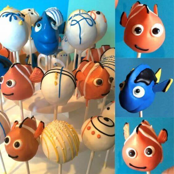 Nemo and Dory Cake Pops