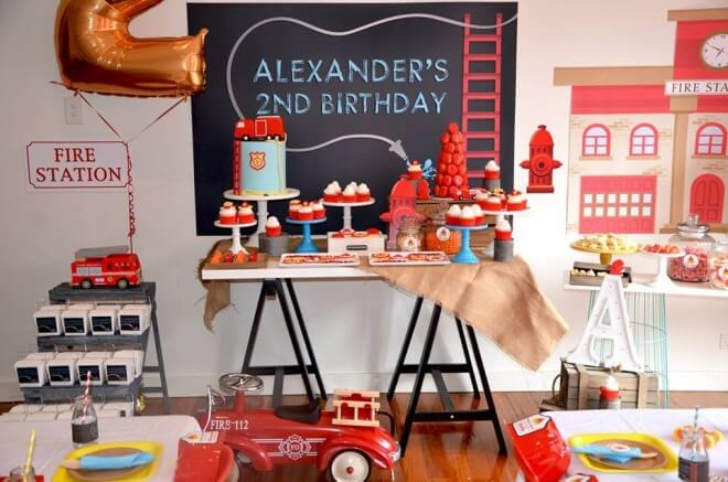 Boy's Firetruck Birthday Party Theme