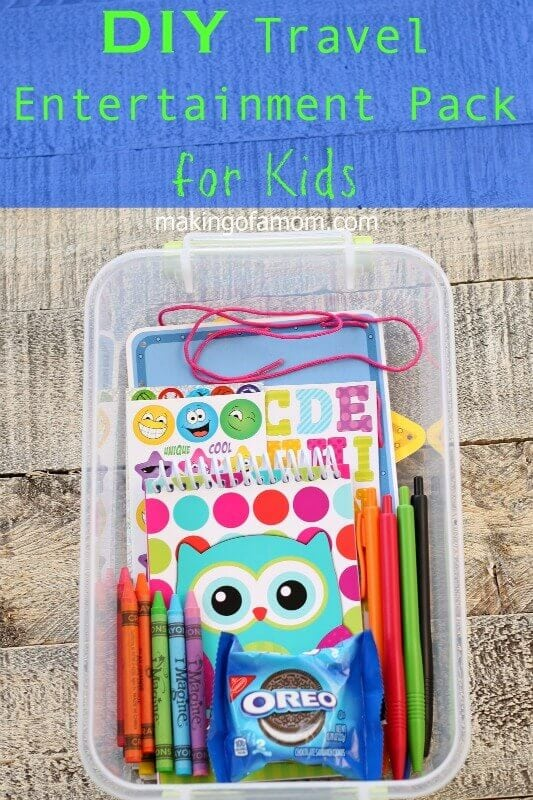 This DIY Travel Entertainment pack for kids will keep kids entertained on long road trips.