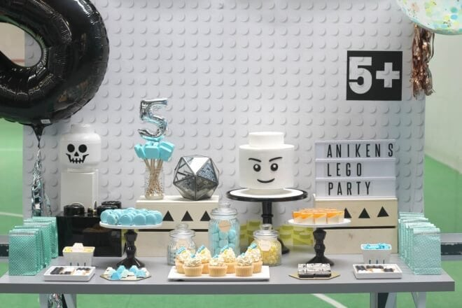 Boy's Modern Lego Themed Birthday Party Dessert Table Ideas