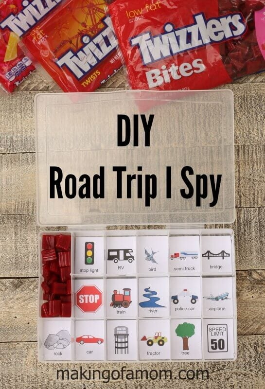 Make this DIY Road Trip I Spy game to keep kids entertained -- plus, snacks!