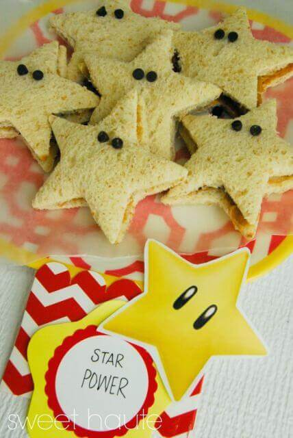 These Super Mario Bros Star Power Sandwiches are delightful and perfect for Mario and Luigi's party.