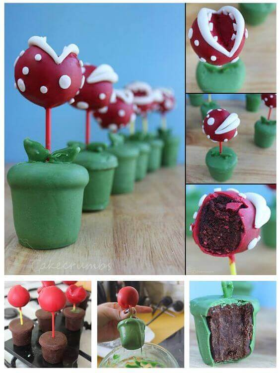 These Piranha Plant Cake Pop could not be more appropriate as treats at a Mario Brothers party.