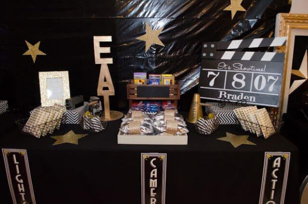 Boys Hollywood Birthday Party Snack Bar Idea