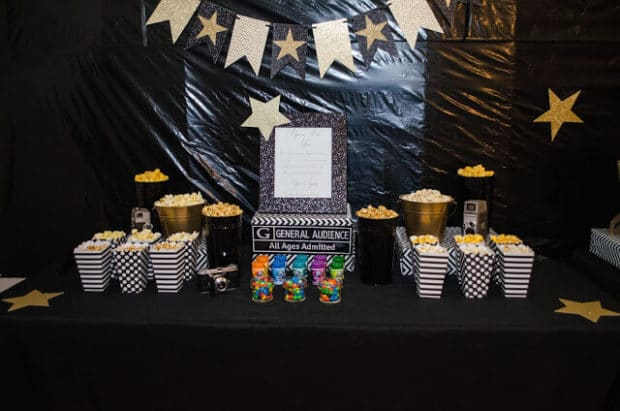 Boys Hollywood Themed Birthday Popcorn Snack Idea