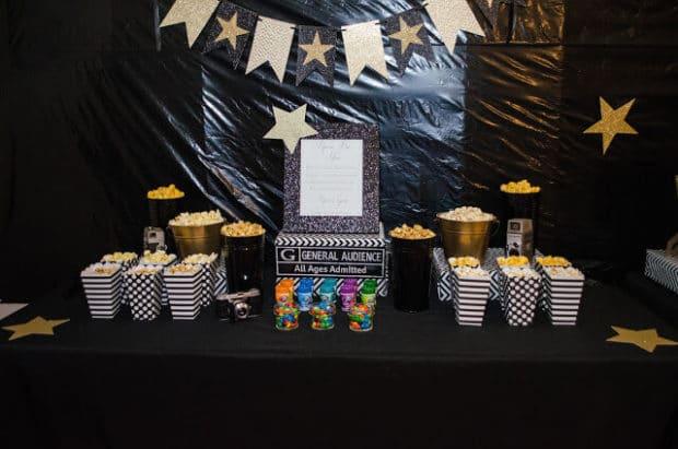 Boys Hollywood Themed Birthday Popcorn Snack Idea