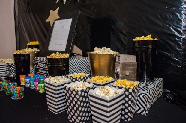 Boys Hollywood Themed Party Snack bar idea