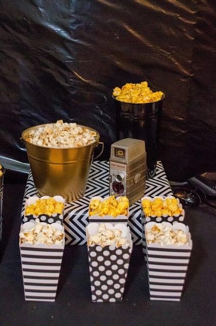 Boys Hollywood themed birthday party popcorn bar