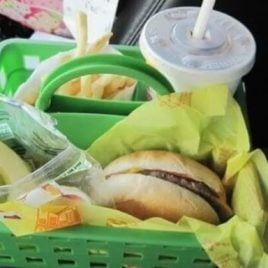 A basket full of food, with Road trip