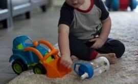 Toddler with Gerber Good Start Drink