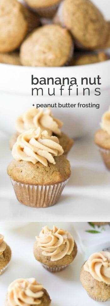 Mini Banana Nut Muffins with Peanut Butter Frosting