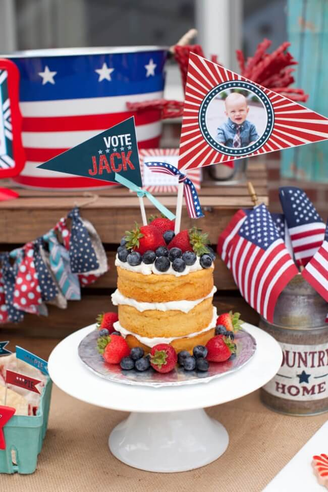 Patriotic 1st Birthday Dessert Table