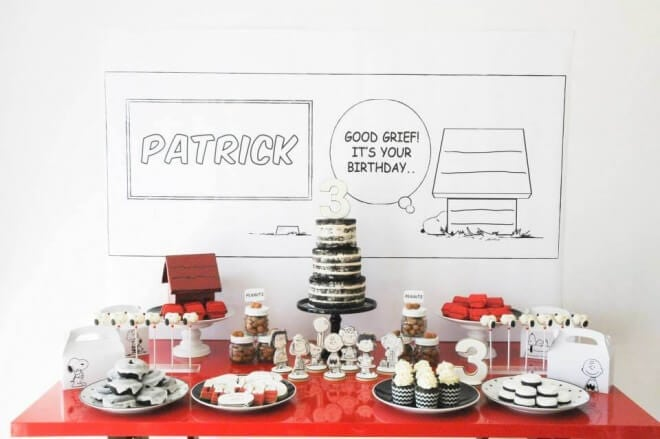 Peanuts Inspired Birthday Party Dessert Table