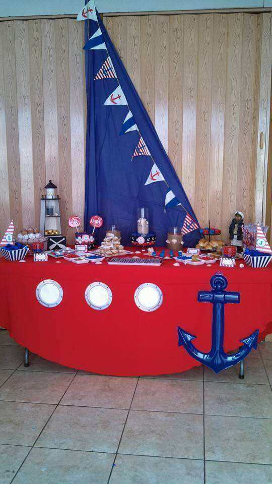 Boy's Nautical Themed Dessert Table