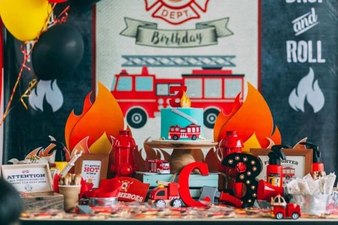Boy's Fireman Theme Birthday Party