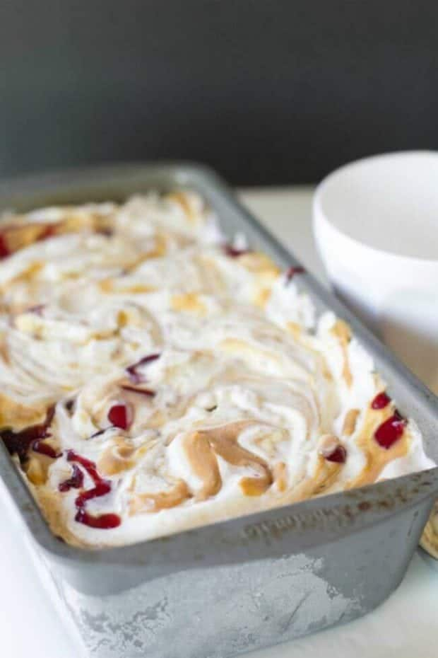 Here's a great recipe for no-churn peanut butter and jelly ice cream ...