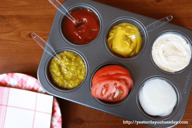 Use a Muffin Tin to organize condiments - easy to store and easy to clean.