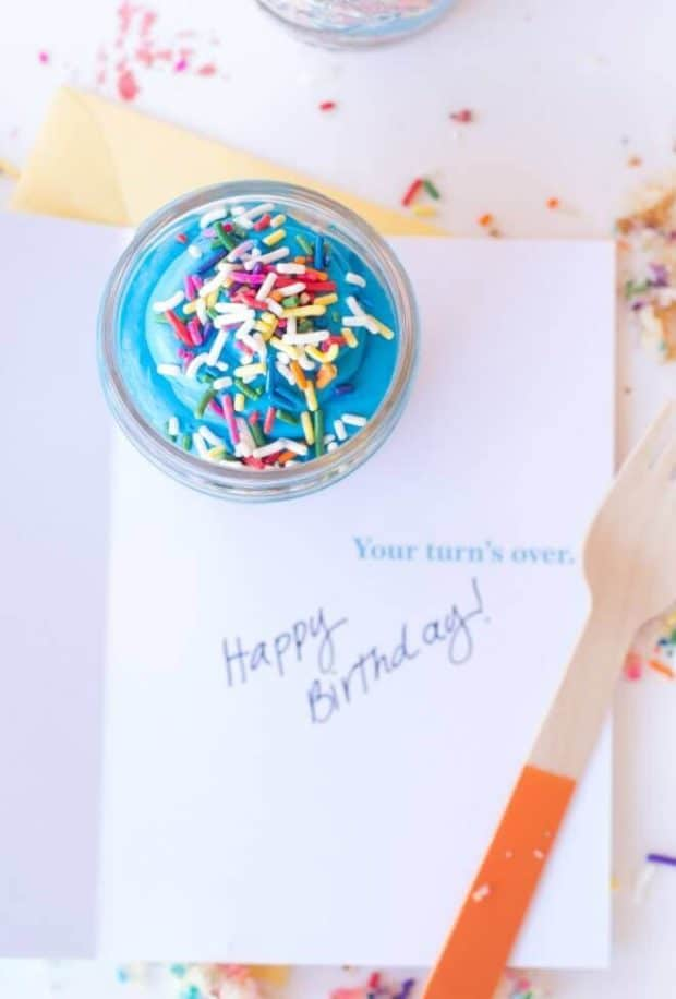 Mason Jar Birthday Cake Idea